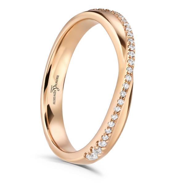 Diamond Set Rose Gold Wedding Ring