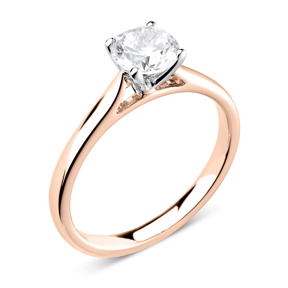 Trysor 18ct Rose Gold Diamond Solitaire Engagement Ring