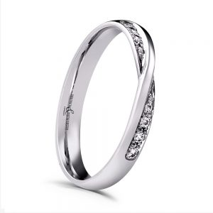 Trysor 0.10ct Diamond Twist Shaped Wedding Ring