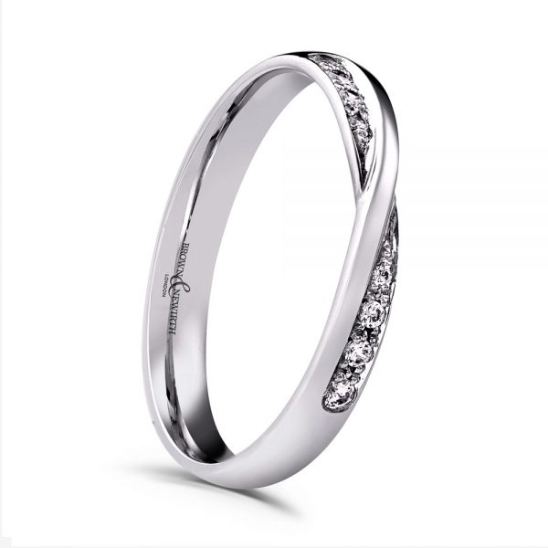 Trysor 0.10ct Diamond Twist Shaped Wedding Ring